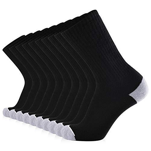 JOURNOW Men's Cotton Moisture Wicking Extra Heavy Cushion Sport Hiking Working Crew Socks 10 Pairs...