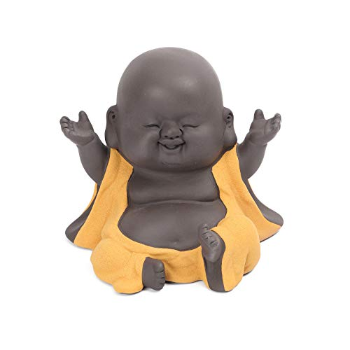 Fucsnxr Cute Smiling Buddha Statue Ceramic Home Decoration Craft Gift Creative Gift China Exquisite Decorative Ceramic Decoration Buddhist Monk Statue Statuette Home Decoration Gift (Yellow)