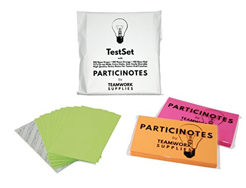 Teste Die Profi Haftnotizen für Gruppenarbeit 127 x 76mm Neon Super Sticky Notes Mit EasyShare Funktion für Trainer, Coaches und Scrum Master 300 bunte Haftnotizen Rot Grün Orange PARTICINOTES