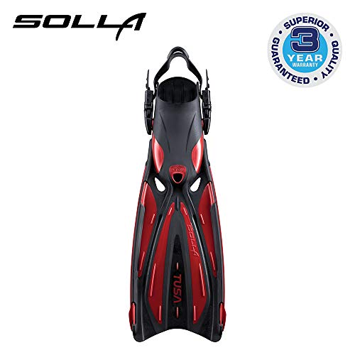TUSA SF-22 Solla Open Heel Scuba Diving Fins, L-XL Metallic Dark Red