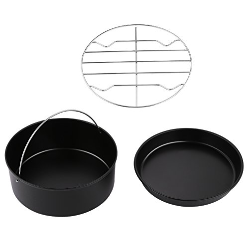 Hosmat Air Fryer Accessories for Gowise Phillips and Cozyna 3-Piece Cake Barrel, Pizza Pan, Metal Holder Fit all 3.7QT-5.3QT-5.8QT (7 Inch)
