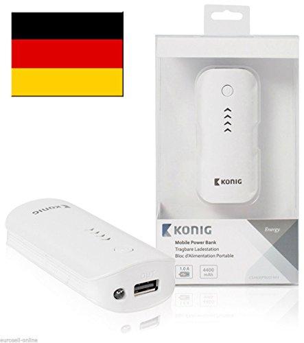 KÖNIG Powerbank USB Ersatzakku Notfall Akku extern USB mobil tragbar weiß