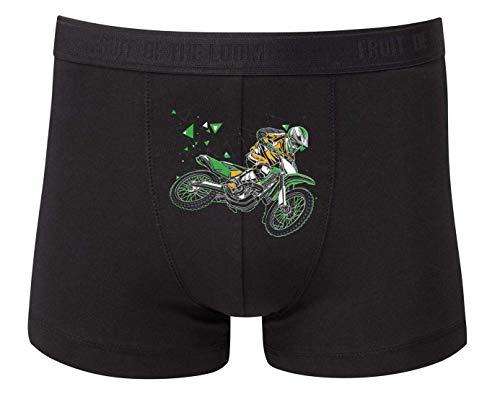 Druckerlebnis24 Boxershort - Motocross Sprung Stunt Motorrad - Unterhose für Herren und Männer