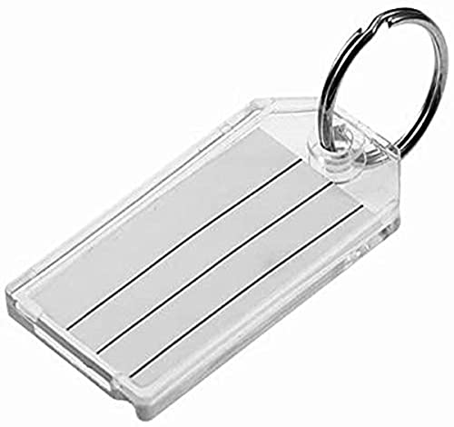 Lucky Line Extra Strength Key Tag with Split Ring, Clear, 100 Per Display Box (20400)