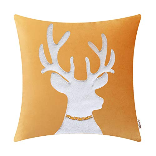 BRAWARM High Class Throw Pillow Cover Case for Couch Sofa Home Decor Solid Velvet Applique Embroidered Soft Sherpa Christmas Reindeer 20 X 20 Inches Gold