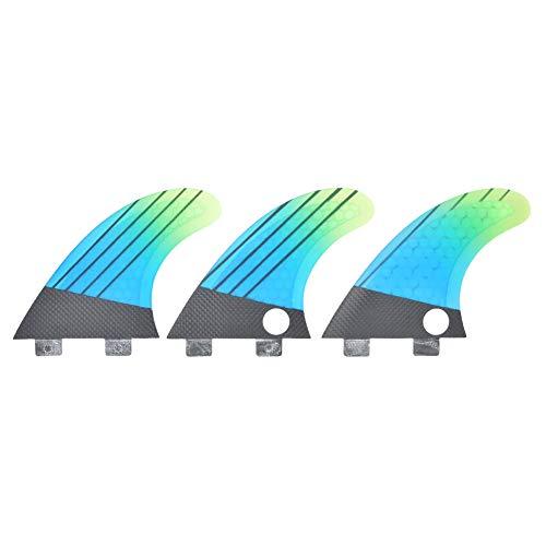 MEIFENG Aleta de Tabla de Surf, 3 Piezas de Tabla de Surf Inflable Aleta de Paleta de Fibra de Vidrio FCS G5 Elegante Azul Verde Degradado Aleta de Cola de Tabla de Surf Accesorio de Surf Flexible