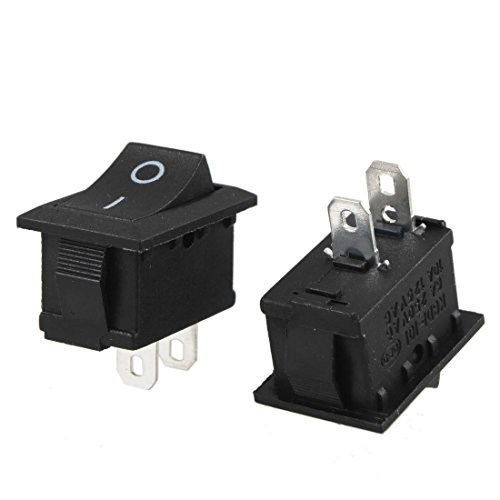 DealMux 2 PC Negro AC 250V 6A 2 Pin SPST Interruptor on/Off Snap-In Barco Rocker