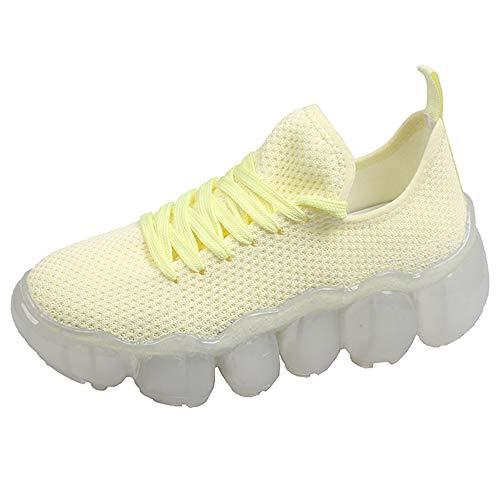 JXILY Zapatillas, Zapatillas de Trekking Zapatillas de Malla con Cristales Zapatos Voladores de Malla Tejida Suela de Gelatina con Colchón de Aire,Amarillo,40