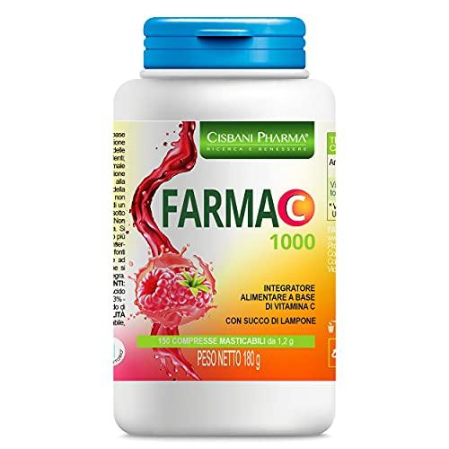 Vitamina C, 150 Compresse Masticabili Gusto Lampone | 2 compresse al giorno apportano 1000mg di Vit c | ideale per adulti e bambini, ad alto assorbimento | Cisbani Pharma, Integratore Vitamina C