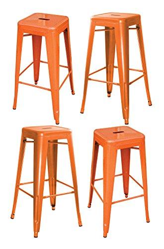 AmeriHome Metal Bar Stool Set, 30-Inch, Orange, Set of 4