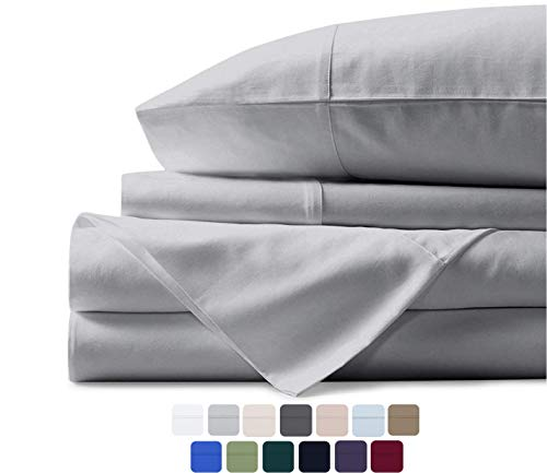 Mayfair Linen 100% Egyptian Cotton Sheets, Silver Queen Sheets Set, 600 Thread Count Long Staple Cotton, Sateen Weave for Soft and Silky Feel, Fits Mattress Upto 17'' DEEP Pocket