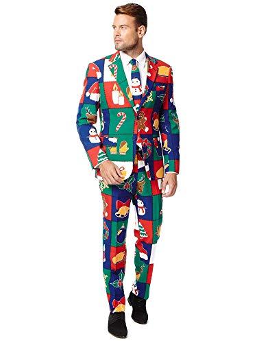 Generique - Costume Noël rapiécé Homme Opposuits
