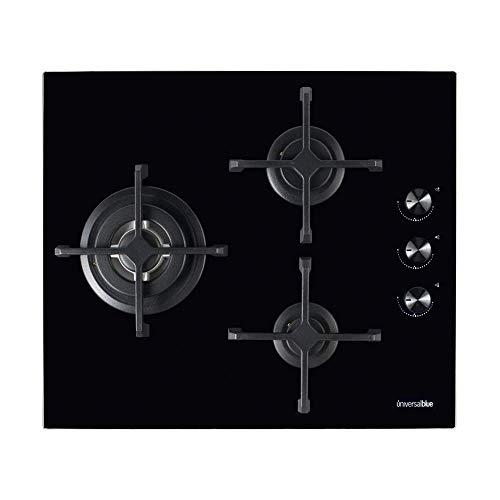 UNIVERSALBLUE - Encimera Cristal Gas Butano - 3 Fuegos - Potencia 1000W 1800W 3400W - Color Negro