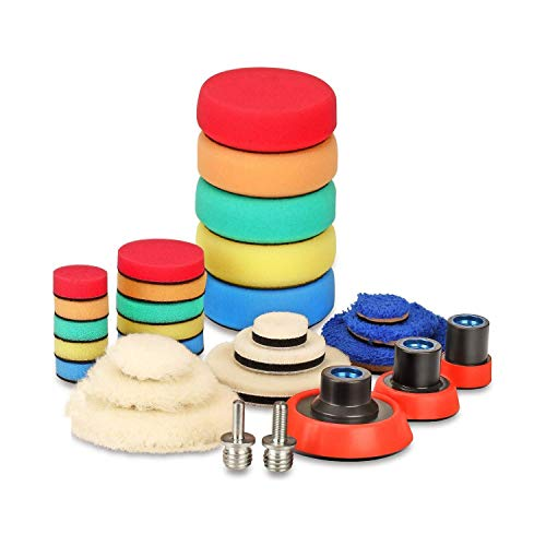 SPTA 29pcs 25mm/50mm/80mm Polishing Pads Drill Buffing Pad Detail Polishing Pad Compound Kit with M14 Thread Backing pad & Adapters for Car Sanding, Polishing, Waxing, Sealing Glaze