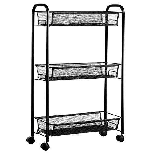 Giantex 3-Tier Mesh Rolling Cart on Wheels, Utility Cart, Mobile Organizer Multifunctional Storage Cart with 3 Wire Baskets for Home and Office (Black)