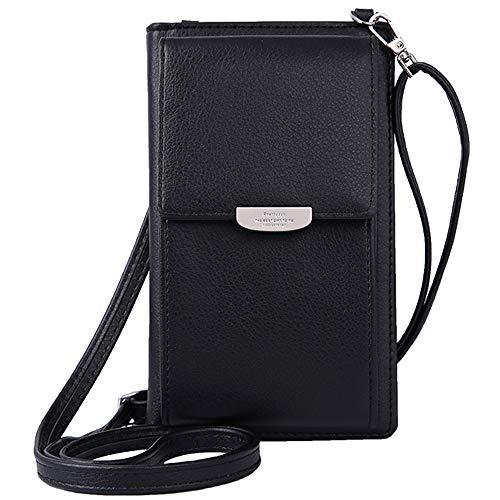 WANYIG Frauen Brieftasche Cross-Body Tasche PU Leder Handy Schultertasche Kleine Damen Geldbörse Handy Mini-Tasche Kartenhalter Umhängetasche(Schwarz)