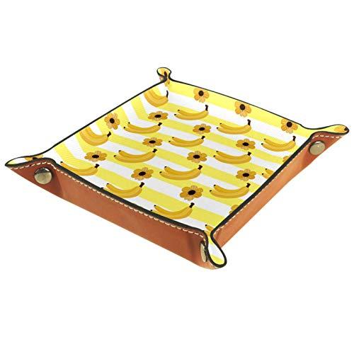 XiangHeFu Bandeja de Cuero Patrón de plátano de Verano Almacenamiento Bandeja Organizador Bandeja de Almacenamiento Multifunción de Piel para Relojes,Llaves,Teléfono,Monedas