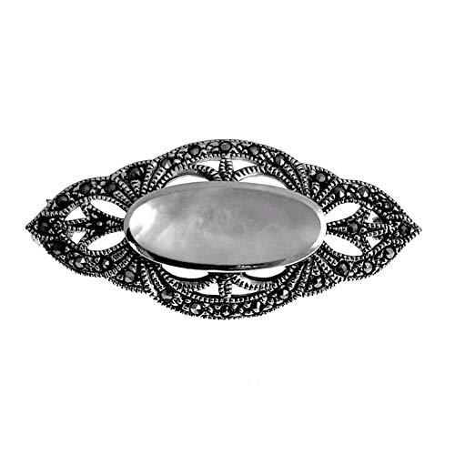 Minoplata Broche de Plata con Marcasitas y nácar Ideal para Recoger mantillas y pañuelos Madrinas y Damas de Honor