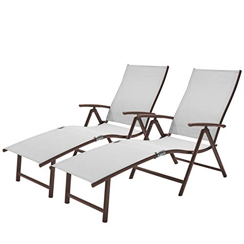 Crestlive Products Aluminum Beach Yard Pool Folding Recliner Adjustable Chaise Lounge Chair...
