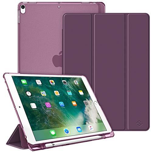 """Fintie Funda para iPad Air 10.5"""" (3.ª Gen) 2019/iPad Pro 10.5"""" 2017 con Soporte Integrado para Pencil - Trasera Transparente Mate Carcasa Ligera con Auto-Reposo/Activación, Morado"""