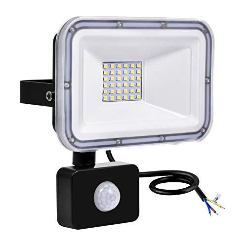 Focos LED Exterior 30W 2400LM Proyector LED con Sensor de Movimiento 6500K Blanco Frío, Impermeable IP67 Reflector LED Luces de Seguridad para Patio Jardín Garaje [Clase de eficiencia energética A+]