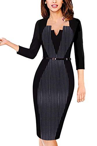 MisShow Damen Cocktailkleid Mit 3/4 Arm Pin up Business Sommer Kleid Abendkleid V-Ausschnitt Streifen Gr.XL