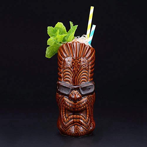 Tiki Mugs-Taza de cerámica hawaiana de cóctel, tazas de cerámica hawaiana, vasos de cóctel exóticos Tiki Bar profesional de fiesta hawaiana – 600 ml