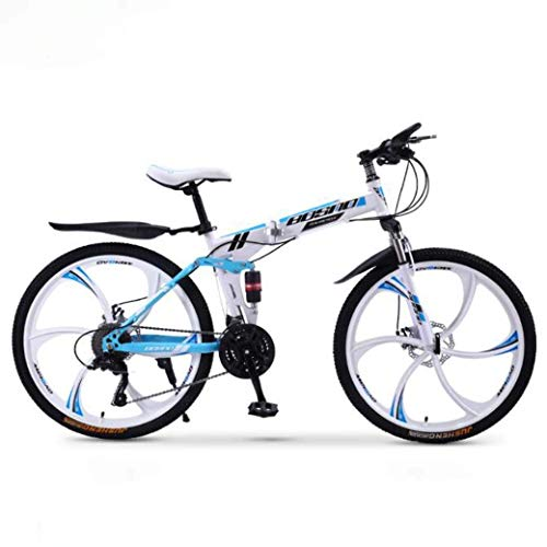KEKEYANG Outdoor Outdoor Sports Mountain Bike Folding Bikes, 24Speed Double Disc Brake Full Suspension Antislip, Offroad Variable Speed Racing Bikes for Men and Women Bike