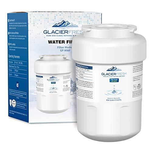 MWF Water Filter Replacement for GE Refrigerator, GLACIER FRESH NSF 42 Certified Cartridges Compatible with GE MWF SmartWater, MWFA, MWFP, GWF, GWFA, Kenmore 9991, 46-9991, HDX FMG-1, WFC1201, 1 Pack