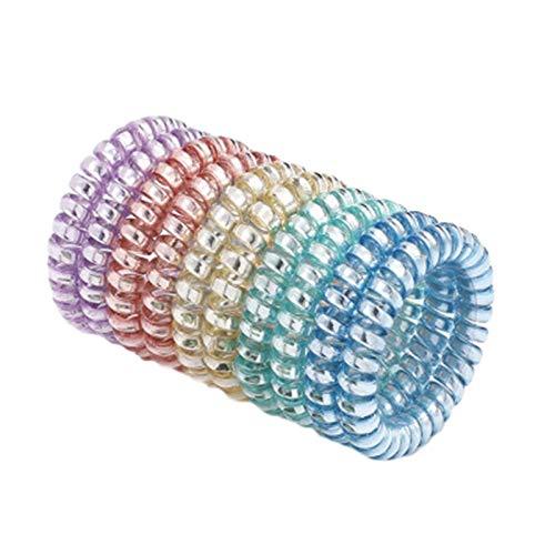 SWECOMZE Juego de 10 gomas para el pelo en espiral para menos puntas abiertas y cabello roto, espiral para pelo fino, cable telefónico en espiral (5,5 cm)