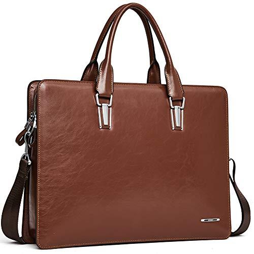 Leder Aktentasche Herren und Damen Schlanke Aktenkoffer Businesstasche Arbeitstasche für 14 Zoll Laptoptasche Braun