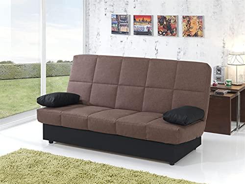 MUEBLIX.COM | Sofa Cama Martina | Sofas de Salón Modernos | Asientos y Respaldo Espuma | Sofa Clic Clac | Estructura Tablero de Particulas | Color Marron