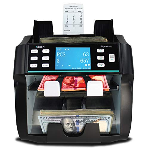 Kolibri Signature 2 Pocket Bank Grade Mixed Money Counter Machine with Built in Printer, Counterfeit Currency Detection UV/MG, On-Screen Reporting, and Reject Pocket