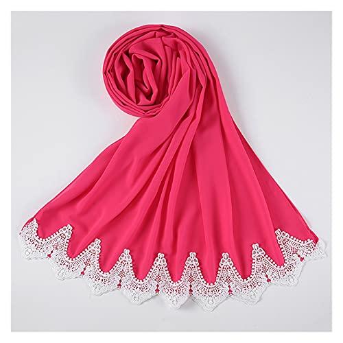 GuanXiao Chiffon Lace Decorado Súper Suave Islam Pañuelo de Cabeza Hijabs for Mujeres Musulmanas Turban Sólido Turban Headband Jersey Headwrap Turbante Tradicional Mujer (Color : 18)