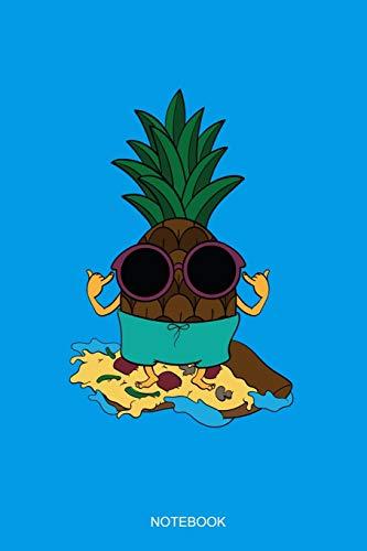Notebook: Liniertes Notizbuch A5 - Ananas Sonnenbrille Surfer Pizza Hawaii I Sommer Urlaub Geschenk
