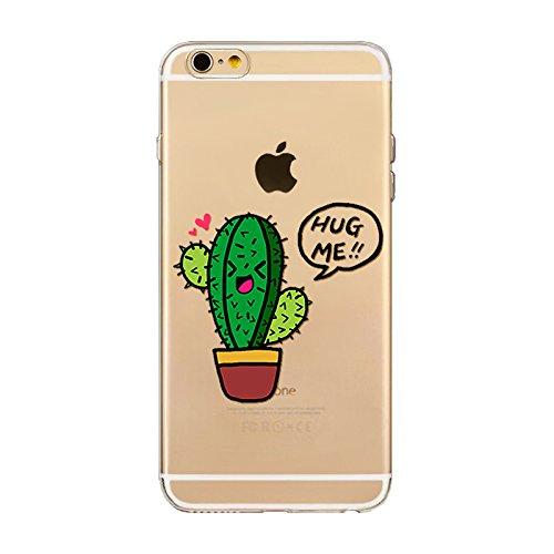 BoomTeck Custodia per iPhone 6s iPhone 6 Cover Silicone Trasparente, Sottile Gel TPU Leggero Gomma Protettiva Cover per 4.7' iPhone 6S 6 AntiGraffio Slim Case Cactus Succulente Tropical Estate