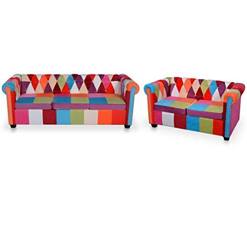 vidaXL Chesterfield Sofa 2-TLG. Couchgarnitur Sofagarnitur Couch Polstersofa Loungesofa Stoffsofa Sitzmöbel Polstermöbel Wohnzimmersofa Stoff