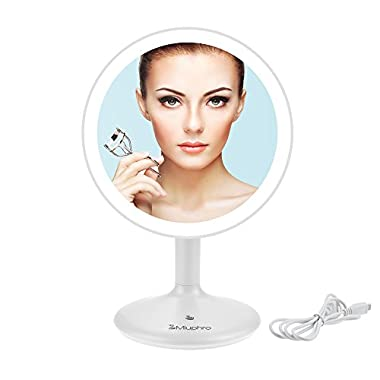 Makeup Vanity Mirror, Miuphro LED Lighted Makeup Plain Mirror Dimmable with USB Charging, Portable, Rotatable, Touch Switch, Brightness Adjustable High Definition Cosmetic Mirror(White)