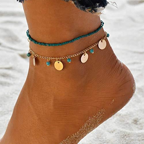 Yean Boho turquesa tobilleras de lentejuelas pulsera de tobillo moda perlas joyería de pie cadena para mujeres y niñas