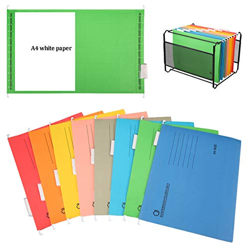 A4 Suspension File,Xiuyer 8 Pieces Heavy Duty Suspended Filing Folders with Tabs and Inserts School Office Stationery Suppliers for A4 Filing Cabinets(Assorted Colors, 24.5 * 34.5cm)
