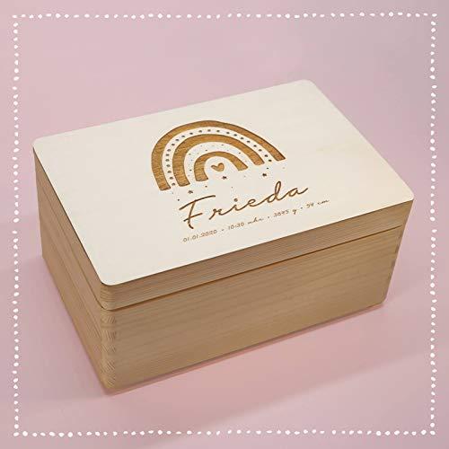 Personalisierte Erinnerungsbox Box Aufbewahrungsbox Erinnerungskiste mit Namen Holzkiste für Kinder Geschenkbox Geschenkidee für Jungs Mädchen Regenbogen Weihnachten Geburtstagsgeschenk hellomini