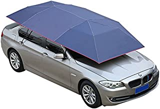 Universal Fit Car Sun Shade Canopy Cover Full Size Car Sedan Breathable Dust Proof Tent Movable Carport Folded Automobile Protection Umbrella Sunproof semi-automatic folding Car Covers Navy Bluev