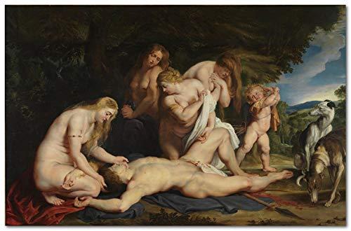 Malen nach Zahlen Kits für Erwachsene und Kinder DIY Ölgemälde Digital ﹣ Paul Rubens Der Tod von Adonis - 16 * 20 In (Rahmenlos)