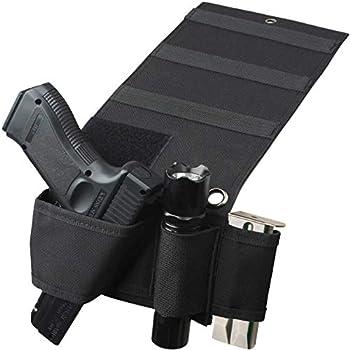 Adjustable Universal Versatile Gun Holster,Under Mattress Bedside Seat Vehicle Car Pistol Holder with Magazine Flashlight Loop Pouch