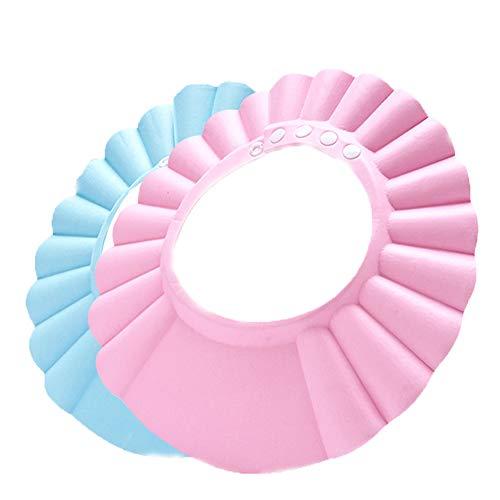 2 pezzi sicuro shampoo doccia protezione di balneazione berretto da bagno morbida visiera regolabile cappello per bambino bambino bambini bambini (rosa, blu)