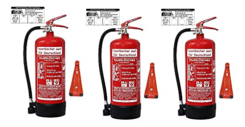 3X 6 L Schaum Feuerlöscher Brandklasse AB DIN EN 3 + GS, Manometer, Wandhalter, Messingarmatur Sicherheitsventil, Standfuß, Schaumlöscher (Mit Prüfnachweis u. Jahresmarke)