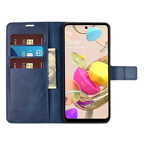 DAMAIJIA Funda Movil para LG K42 Carcasa Cuero PU Silicona Magnetic Wallet Protector Teléfono Flip Back Cover For K42 LG K42 K 42 2020 Tapa con Soporte (Blue)