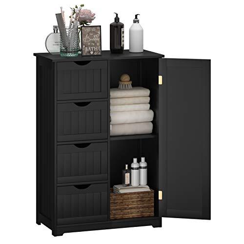 Giantex Bathroom Floor Cabinet Wooden with 1 Door & 4 Drawer, Free Standing Wooden Entryway Cupboard Spacesaver Cabinet, Black