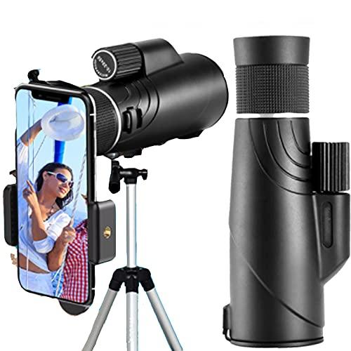 10-20X50 HD Zoom Telescopio impermeable Telescopios monoculares de alta potencia, con soporte para teléfono inteligente y trípode, para conciertos de senderismo, observación de aves y vida silvestre