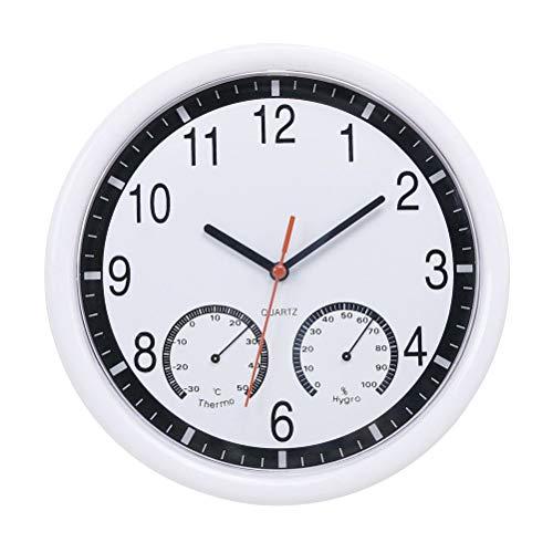 Vosarea Reloj de Pared de 1 Pieza con termómetro e higrómetro Reloj Colgante preciso Que Funciona sin Pilas para Oficina en el hogar sin baterías Blanco
